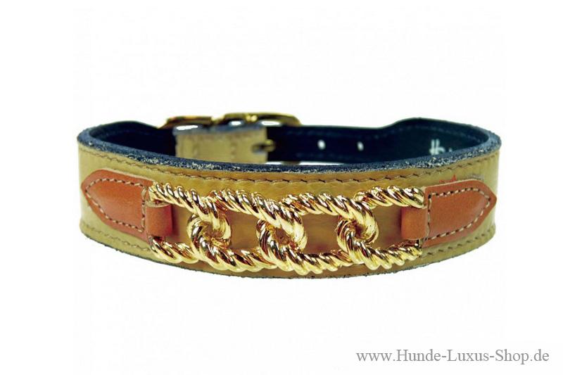 Hundehalsband mit goldener Panzerkette