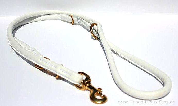 Hundeleine Leder-Weiss